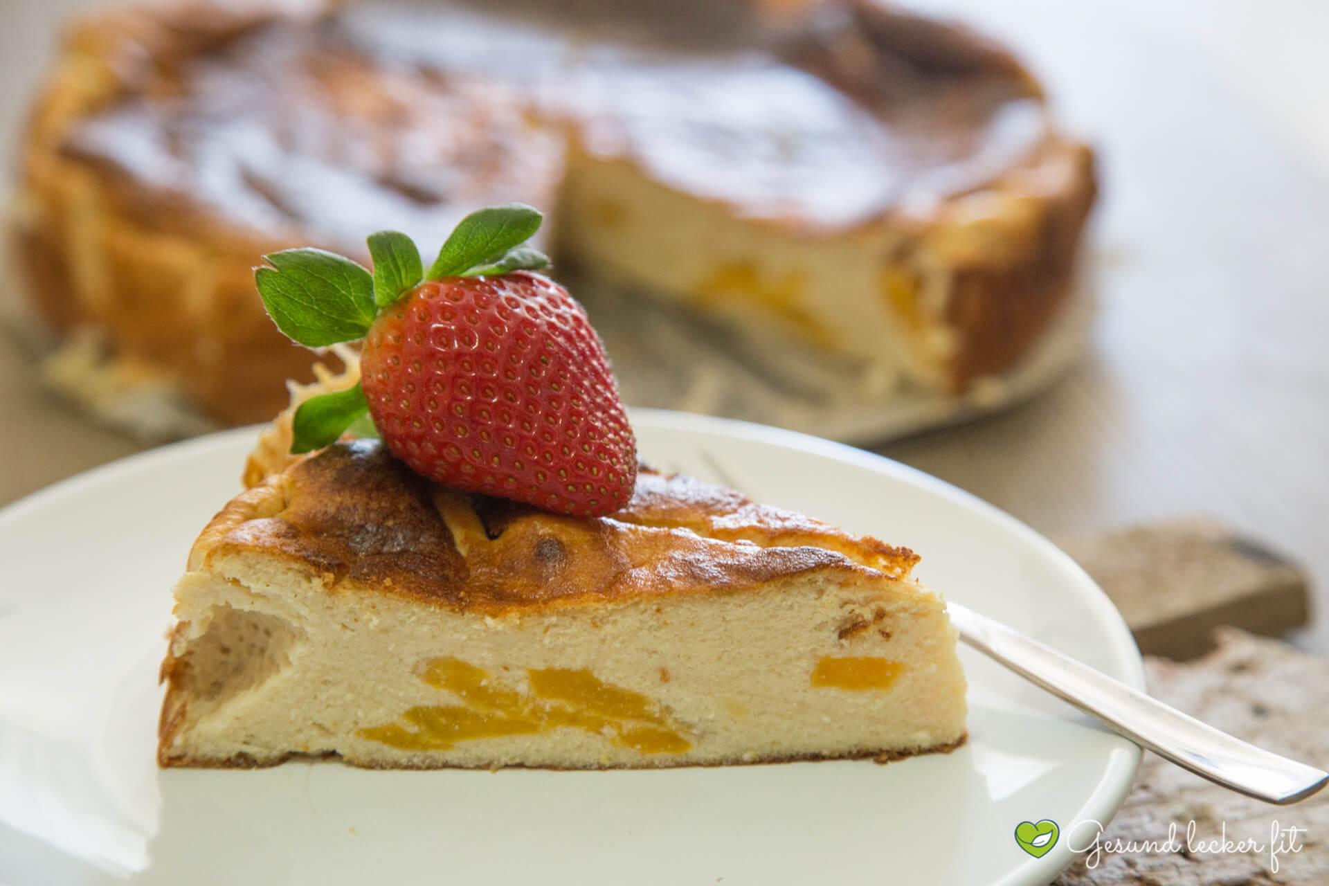 Protein Käsekuchen mit Pfirsich -